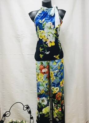 Pantalón ancho estampado floral