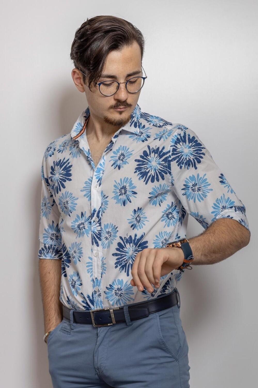 Camicie Di Cotone Fantasia Floreale
