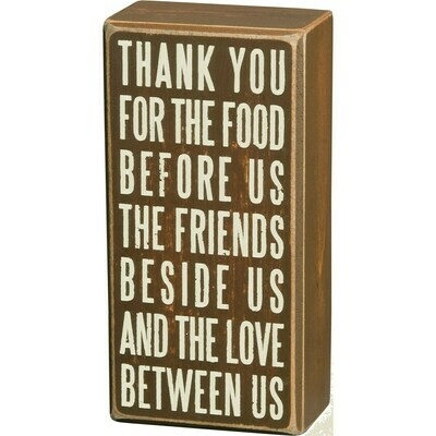 Box Sign; Thank You Food and Friends