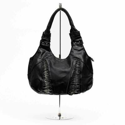 Dundee Bag With Double Twill; Black with faux Grey Crocodile