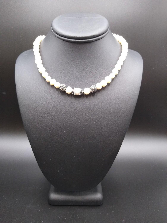 Pearl and Diamond Necklace/Bracelet Set