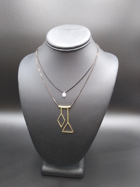Diamond and triangle 2 strand necklace