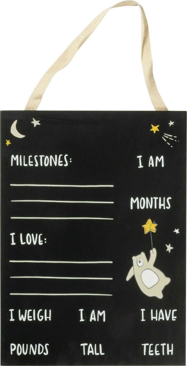 Chalk Sign; Bear Milestone Board