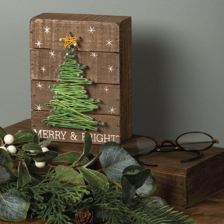 Christmas String Art Box Sign; Tree