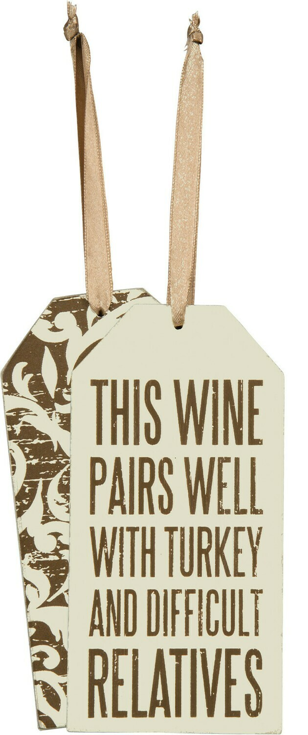 Wine bottle Tag; Turkey and Difficult Relatives