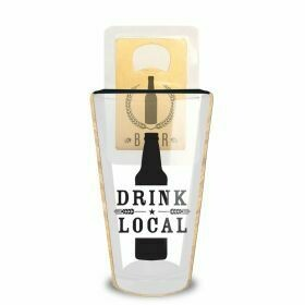 Drink Local Pint Glass/ Beer Opener Set