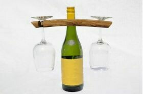 Wooden Wine Glass and Bottle Display