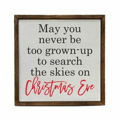 Box sign; Search the skies on Christmas Eve