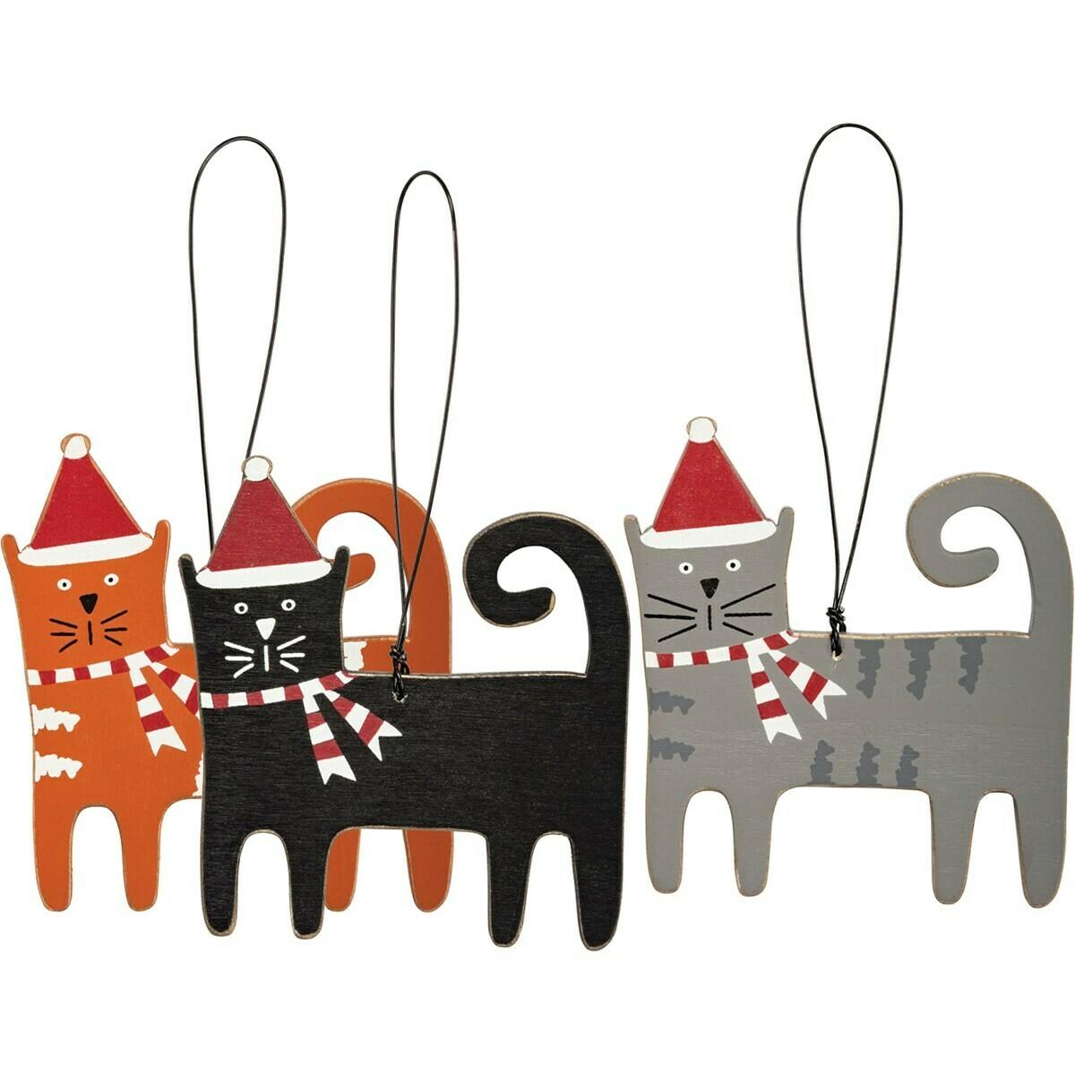 Christmas Cat Ornament Set; set of 3