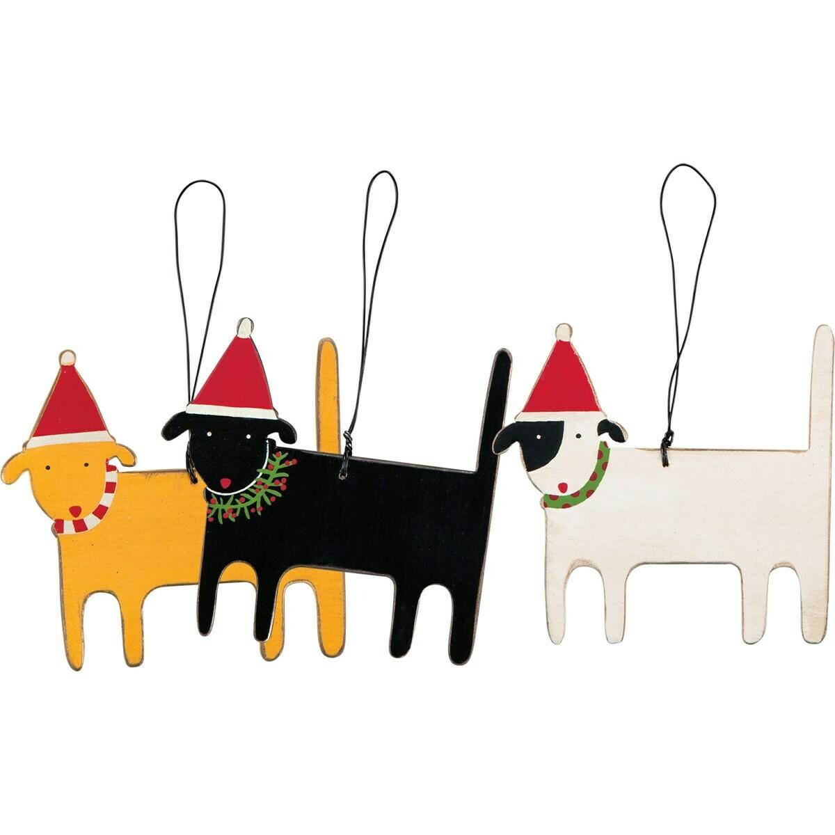 Christmas Dog Ornament Set; set of 3