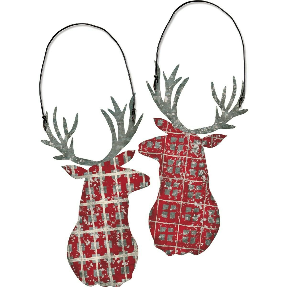 Plaid Deer Christmas Ornament