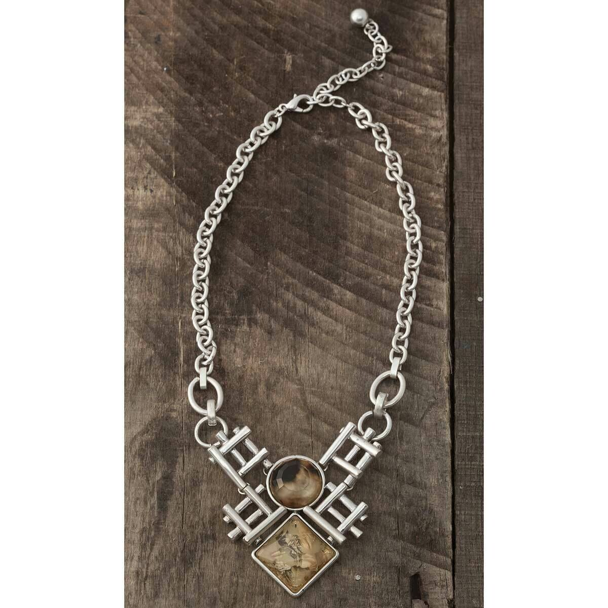 Round and Square Stone Necklace