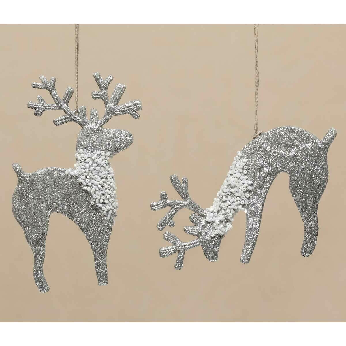 Silver Shimmery Reindeer Ornament; various