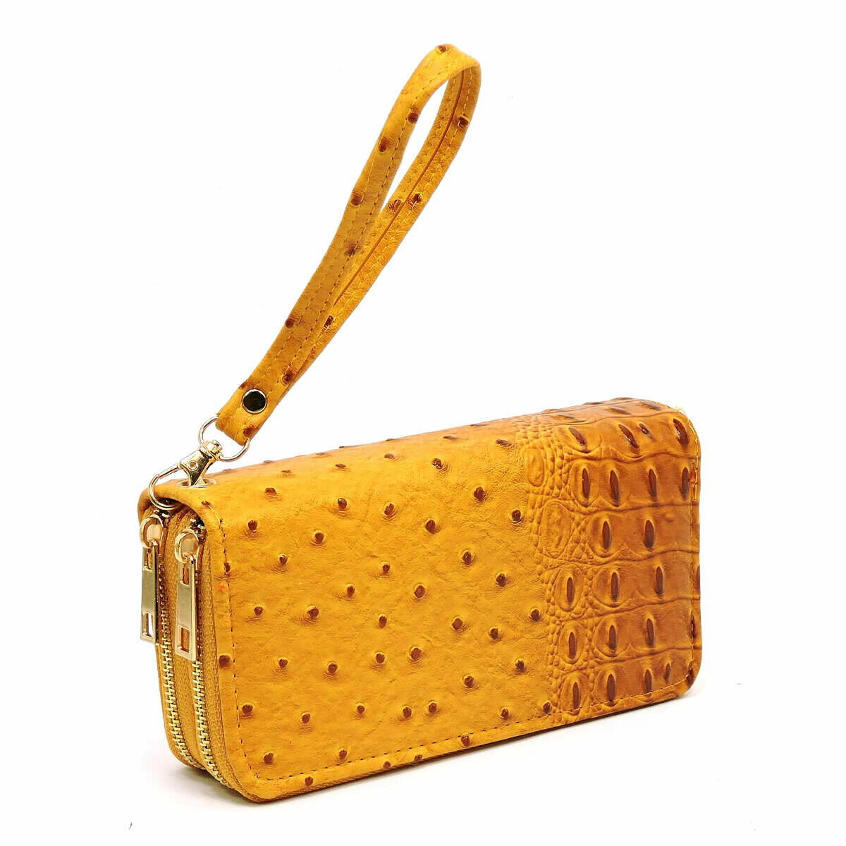 Ostrich Croc Double Zip Around Wallet Wristlet; mustard