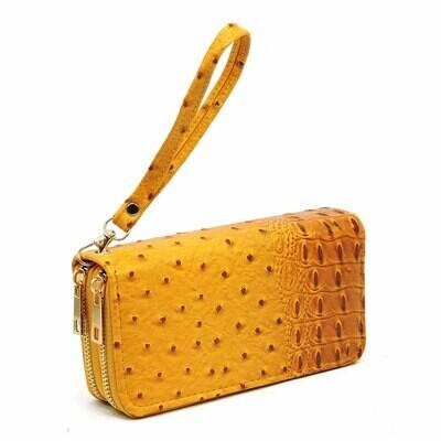 Ostrich Croc Double Zip Around Wallet Wristlet; mustard