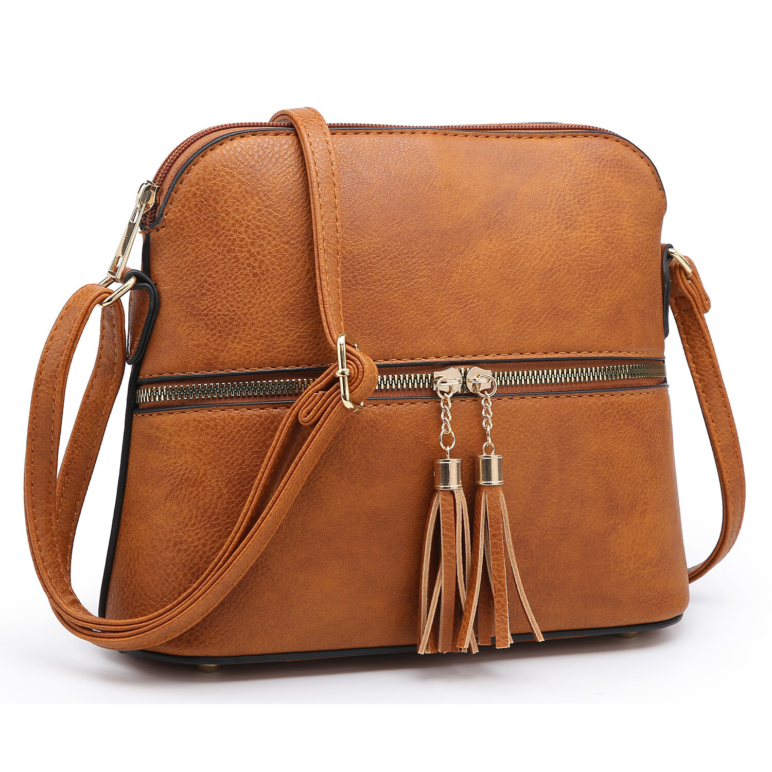 Fashion Tassel Zip Dome Crossbody Bag; brown