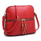 Fashion Tassel Zip Dome Crossbody Bag; red