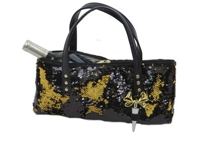 Black/Gold Glitter Wine Purse