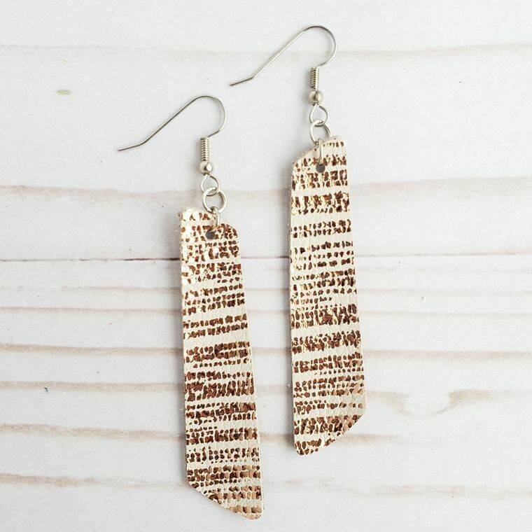Rose Gold Striped Leather Bar Earrings