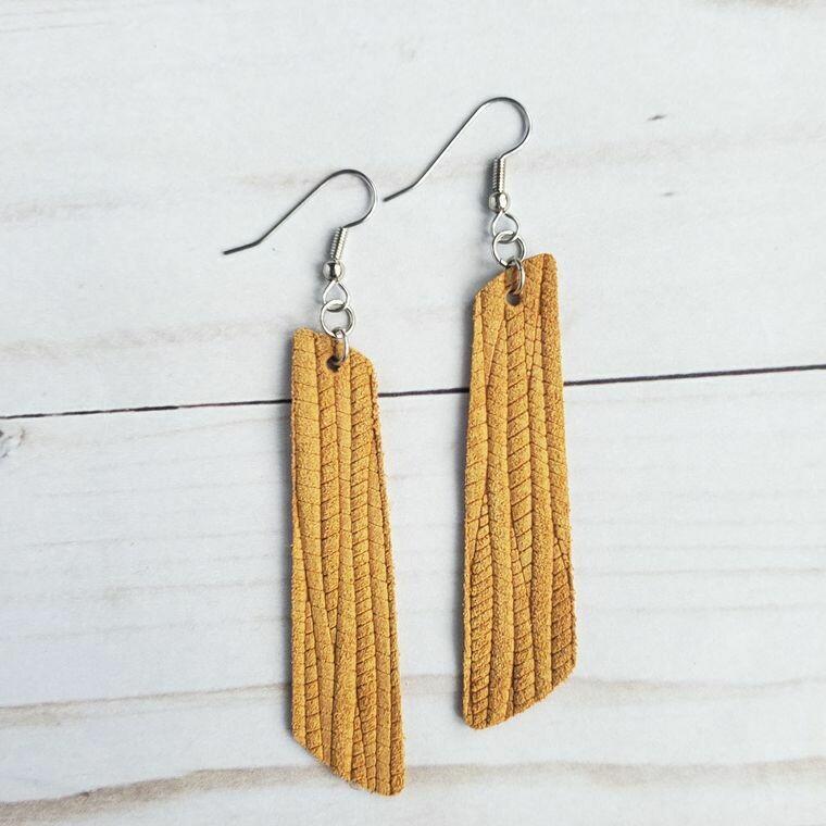 Mustard Palm Leather Bar Earrings