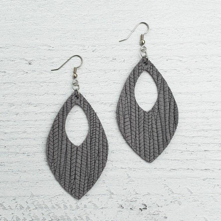 Ash Grey Palm Earrings