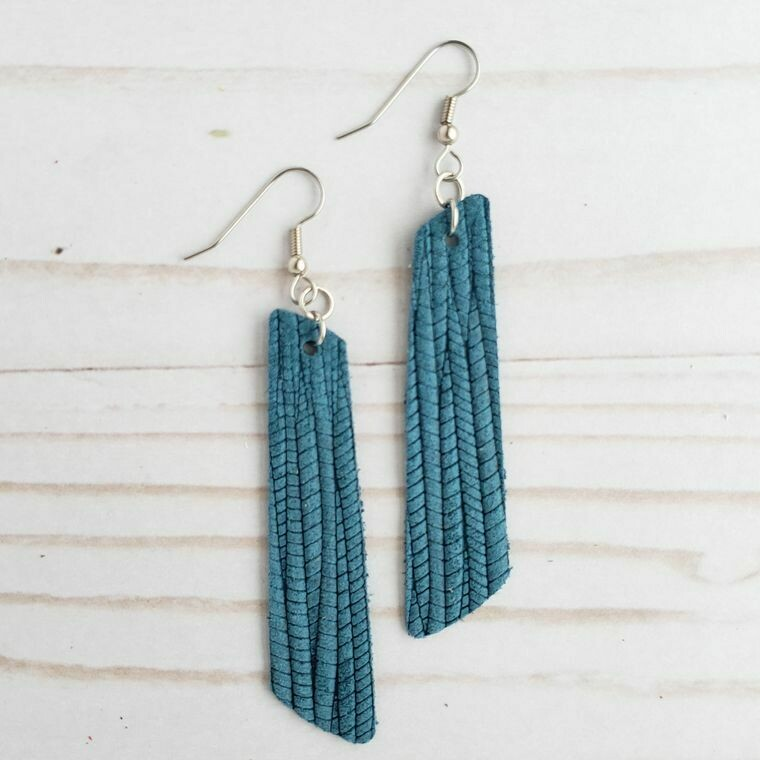 Teal Palm Leather Bar Earrings