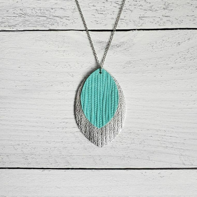 Cool Mint and Silver Fringe Leather Necklace