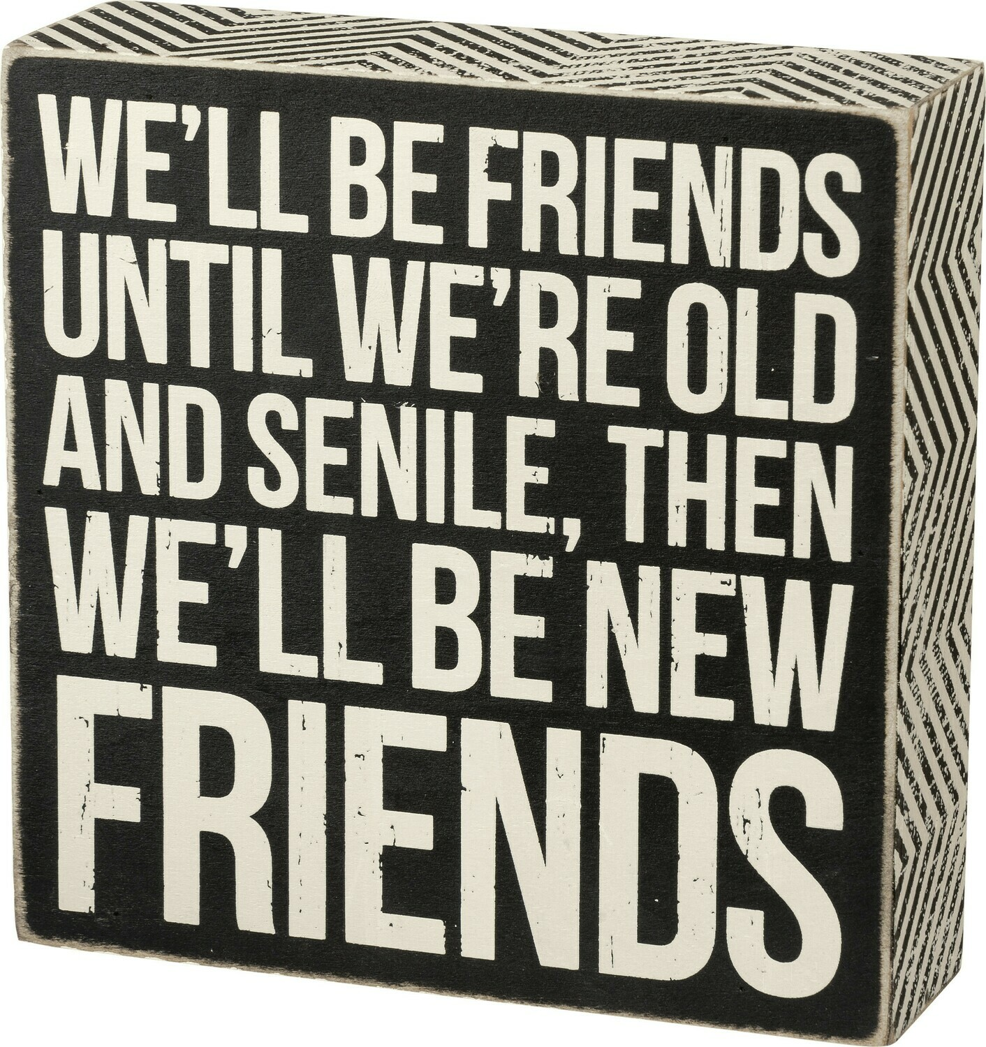 "Box Sign - New Friends - 6"" x 6"" x 1.75"" - Wood, Paper"