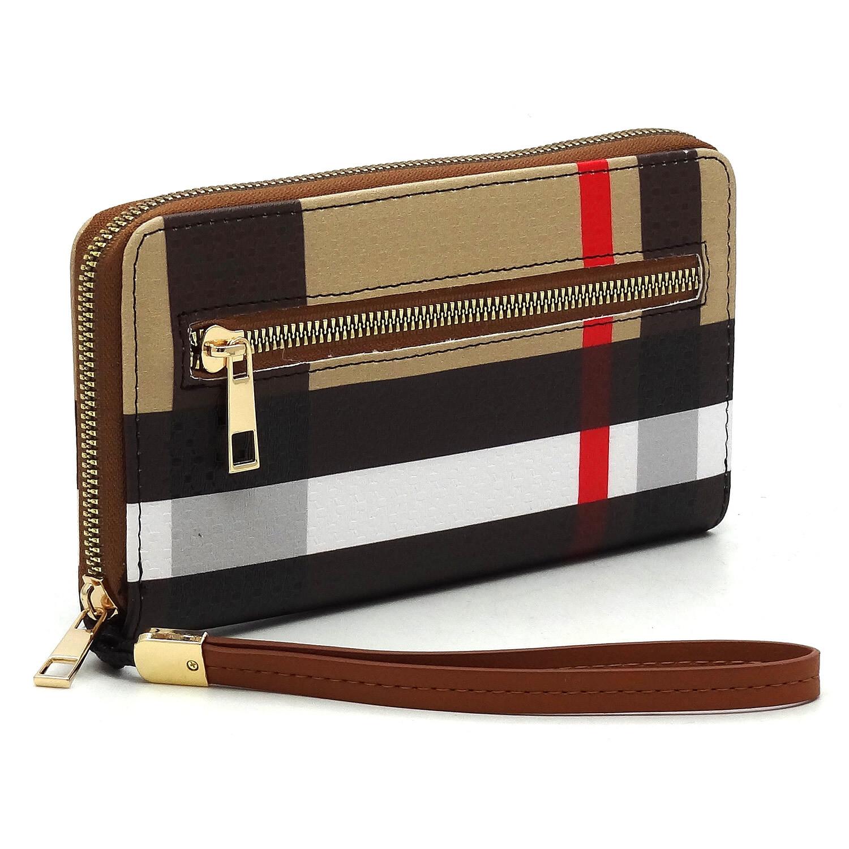 Brown/red stripe wristlet/wallet