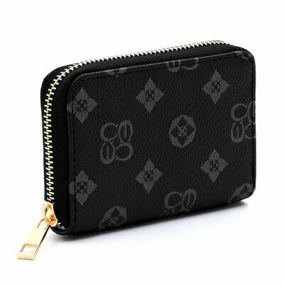Card Holder; Black and grey monogram