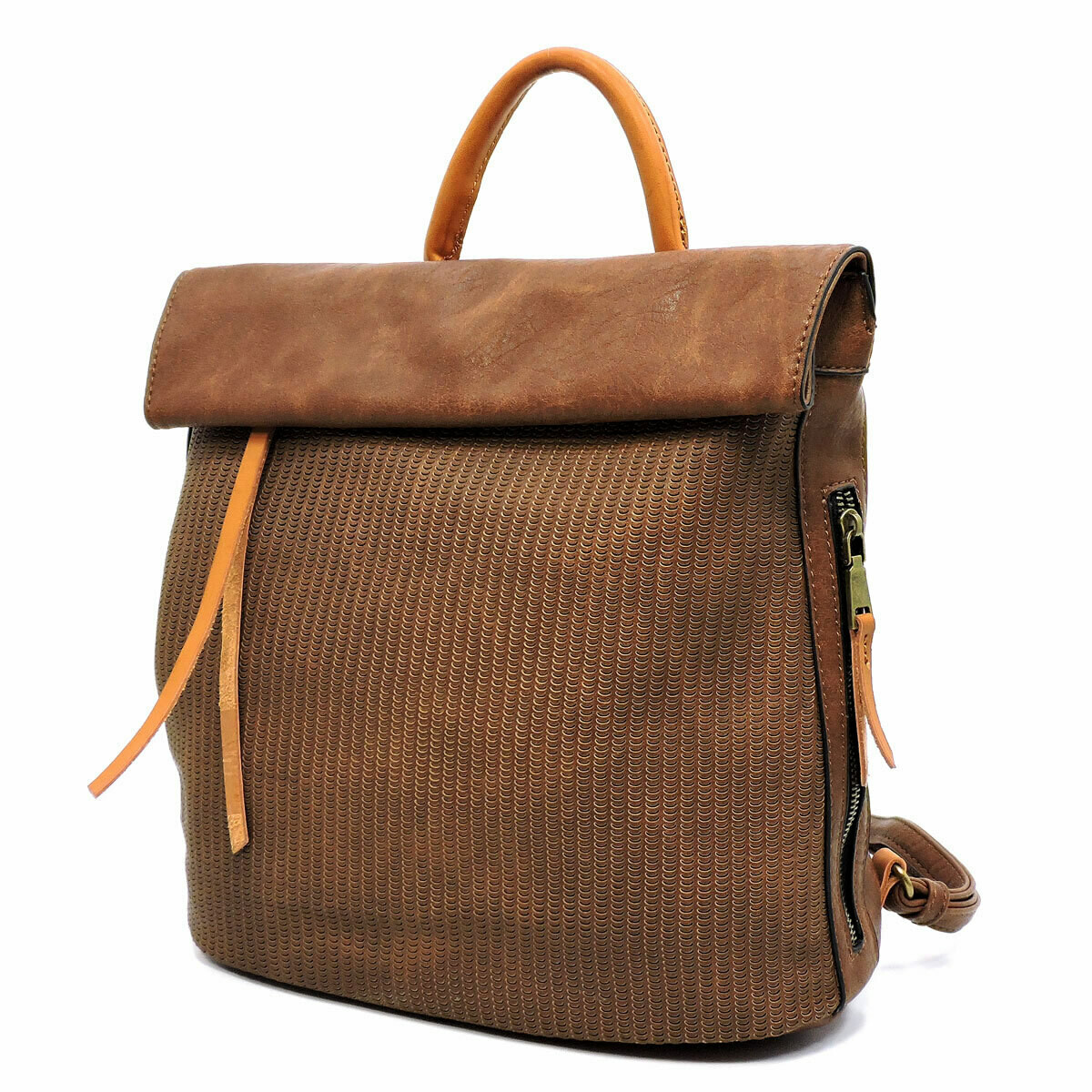 Brown Backpack with foldover top