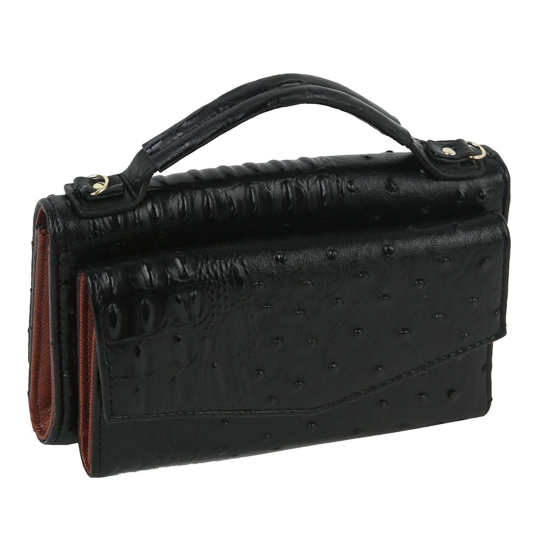 Black croc crossbody/wallet/wristlet