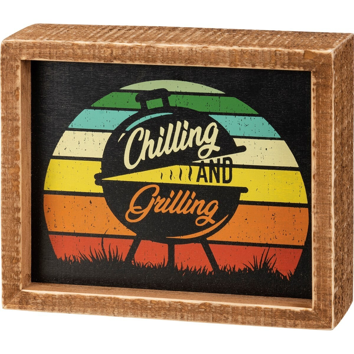 inset box sign; chilling and grilling