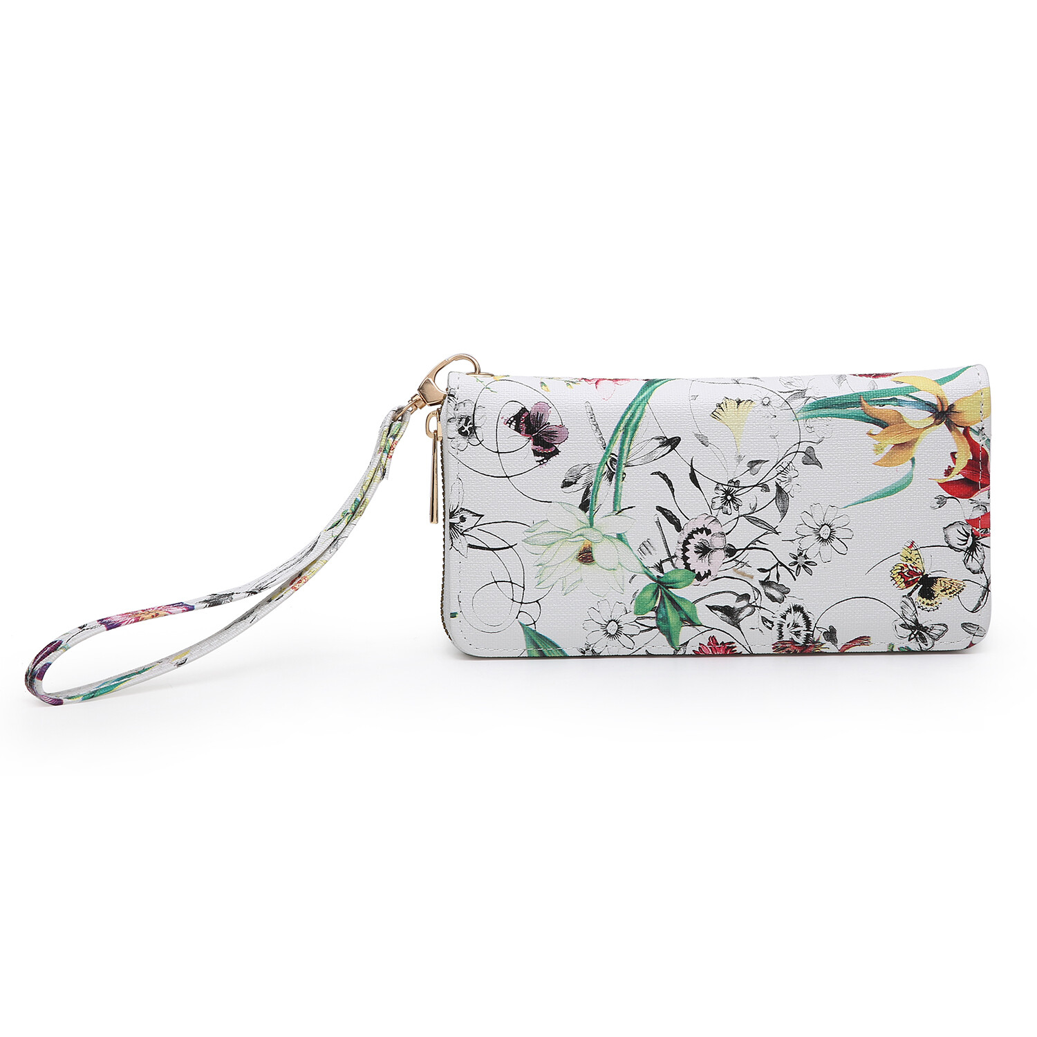 White floral wallet