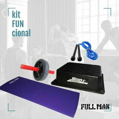 Kit funcional 1: un step negro + una colchoneta de polietileno de  2cm + una rueda para abdominales (roja) + una soga de salto