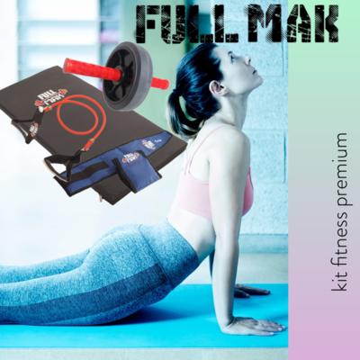 Kit fitness 5: una colchoneta de poligom de 80kg + una rueda de abdominales + un par de tobilleras reforzadas de 1kg + una banda elástica