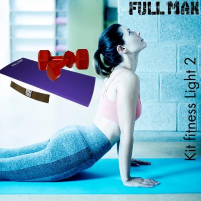 Kit light 2: Colchoneta de 2cm de polietileno + par de mancuernas plásticas de 1kg + banda elástica tensión baja