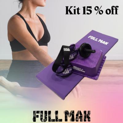 Kit fitness 4: Colchoneta de 2cm + rueda simple abdominales + Tobilleras de 1.5kg + step + banda elástica circular