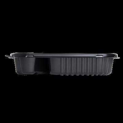 Karat 36oz PP Plastic Microwaveable Black Take Out Box, 2-compartment - 300 ct