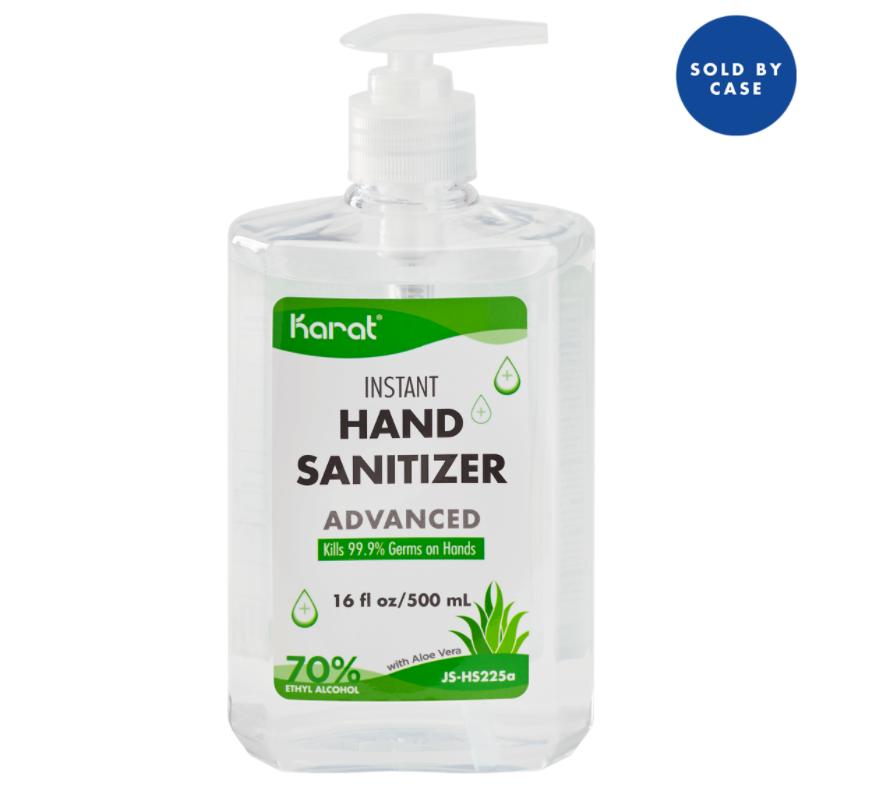 Karat 16 oz Hand Sanitizer Gel with Aloe Vera - Case of 24 bottles