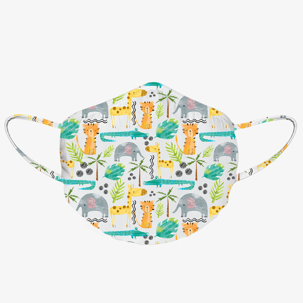 Pack of 3PCS Washable Face Mask with Antimicrobial Protection - Jungle Animals - Kids