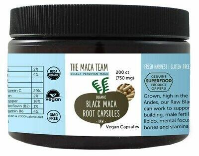 Organic Raw Black Maca Capsules - Vegan - 750 mg - 200 ct