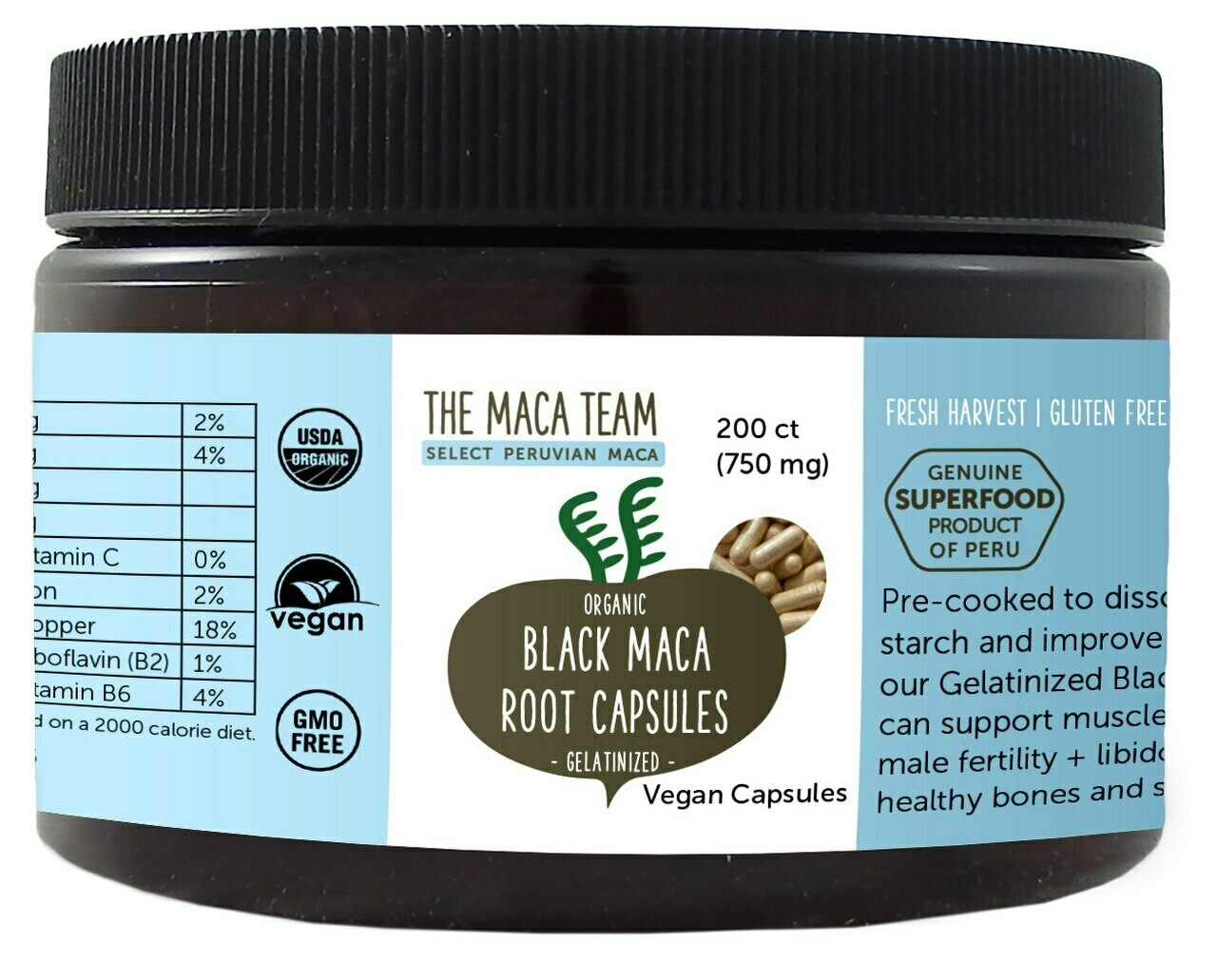 Organic Gelatinized Black Maca Capsules - Vegan - 750 mg - 200 ct