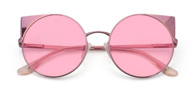 Pink Hipster Cat-Eye Round Tinted Sunglasses