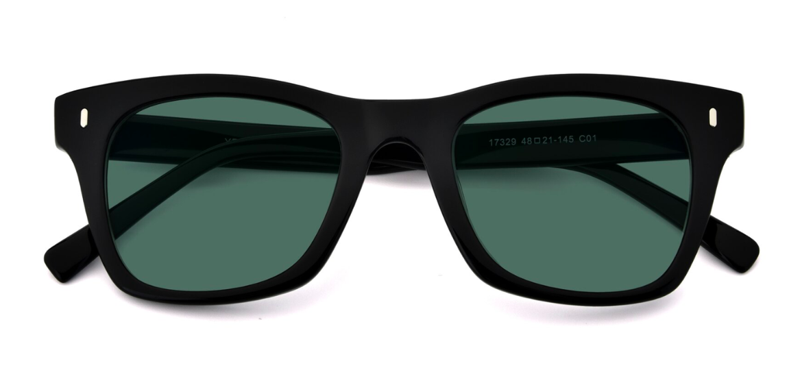 Black Geek-Chic Horn-Rimmed Square Polarized Sunglasses