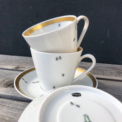 """Kaffeetasse mit Untertasse """"Ameisen"""""""