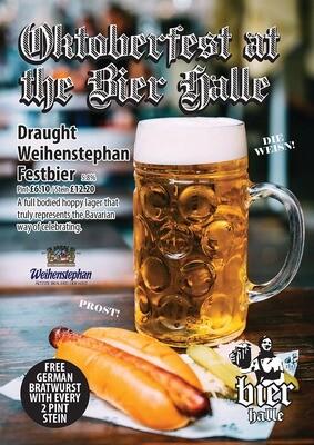 Stein Weihenstephan Fest Bier abv 5.8% Complimentary German Bratwurst Hot Dog (*Available until 8.45pm)