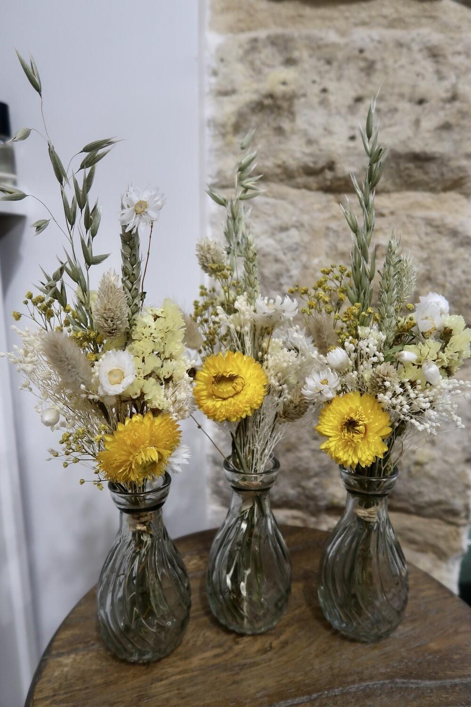 Trio de mini bouquets Capri avec leurs vases (VENDU)