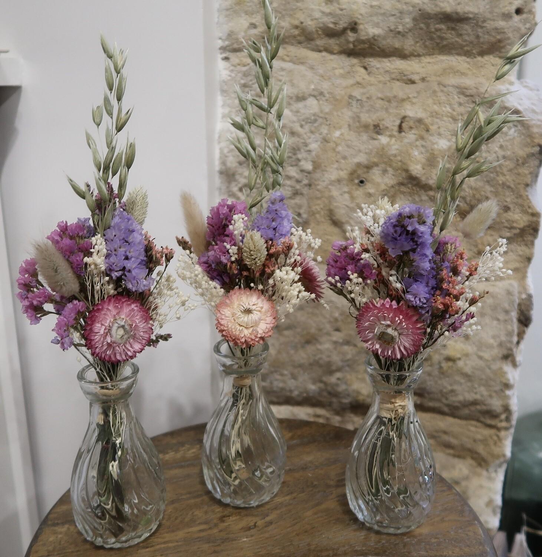 Trio de mini bouquets Rome avec leurs vases (VENDU)