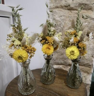 Trio de mini bouquets Capri avec leurs vases (EPUISE)